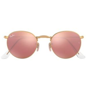 Ray-Ban Rose Gold Round Flash Lenses